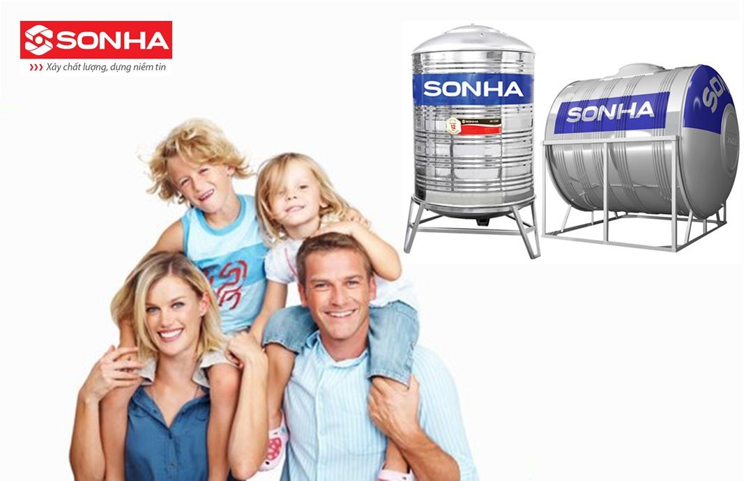 bồn nước sơn hà 2000l cho gia đình 4 người