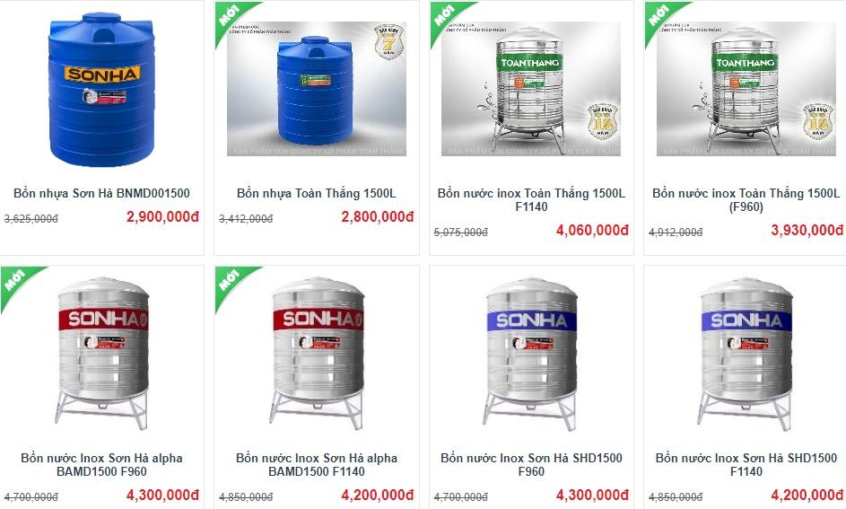 Bồn nước Sơn Hà 1500L có giá bao nhiêu